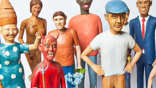 Don Shull, Various Carved Figures, 1996-2016, wood.