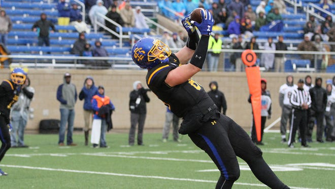 South Dakota State's Dallas Goedert hauls in a touchdown catch during the third quarter of the Jackrabbits' 38-18 loss to Northern Iowa on a rainy Saturday afternoon at Dana J. Dykhouse Stadium in Brookings.