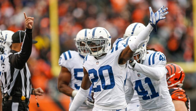 Indianapolis Colts free safety Darius Butler (20) celebrates after the Colts recover a fumble by Cincinnati Bengals running back Joe Mixon (28) at Paul Brown Stadium in Cincinnati on Sunday, Oct. 29, 2017.