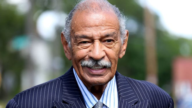 """Rep. John Conyers Jr., D-Mich., attends the Help Us Grow Detroit event to unveil the Brush Street mural in Detroit's North End neighborhood on Aug. 14, 2014. On Thursday, Nov. 30, 2017, Marion Brown appeared on the """"Today"""" show detailing allegations of sexual misconduct by him."""