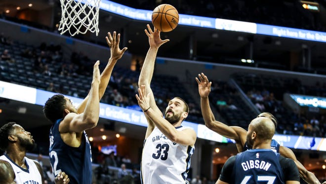 December 04, 2017 - Marc Gasol goes up for a shot during Monday night's game versus the Minnesota Timberwolves at the FedExForum.