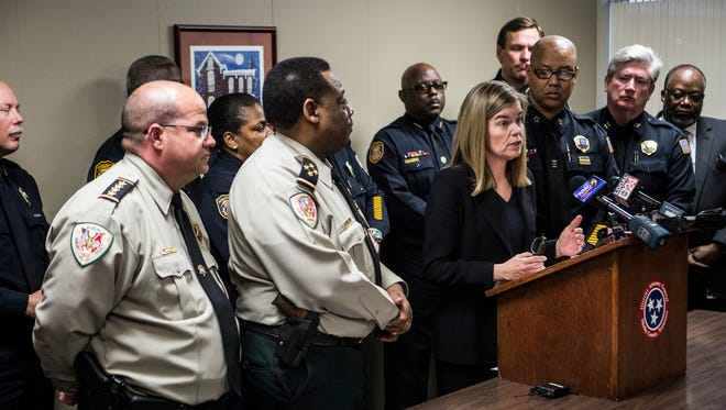 Shelby County District Attorney General Amy Weirich speaks during a press conference about the indictment of a 46-year-old Collierville man in the murder of former basketball star Lorenzen Wright. Billy Turner was arrested on Tuesday.