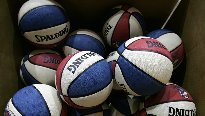 A box of ABA basketballs, similar to ones used during the early era of the Indiana Pacers.