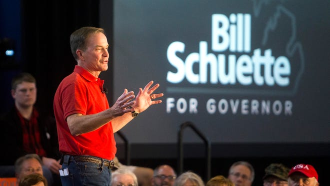 Michigan Attorney General Bill Schuette of Midland announces his gubernatorial campaign Tuesday, Sept. 12, 2017, at the Midland County Fairgrounds in Midland.