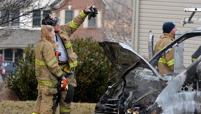 A work van parked in the driveway of a home on Chatham Ln in Windsor Township caught fire, Tuesday Jan. 16, 2018, which then extended to the home. John A. Pavoncello photo