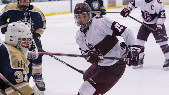 No. 19 Tsubasa Konishi looks for the puck during the Bergen County final.