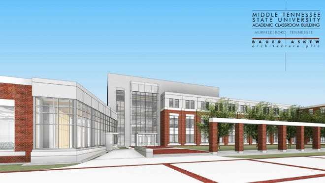 This artist's rendering shows the exterior of the proposed new classroom building for MTSU's College of Behavioral and Health Sciences.