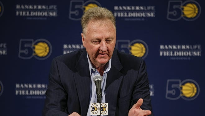 Indiana Pacers' Larry Bird announces that he is stepping down as President of Basketball Operations during a press conference at Bankers Life Fieldhouse on Monday, May 1, 2017. Executive Vice President of Basketball Operations and General Manager Kevin Pritchard will be replacing Bird.