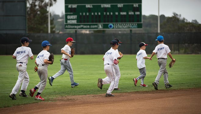 This undated photo provided by US Sports Camps shows kids taking the field at the Nike Baseball Camp summer program in Santa Barbara, Calif. (US Sports Camps via AP)
