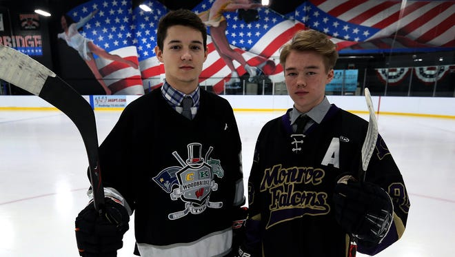 Woodbride's Drew Galea (left) and Monroe's Kyle Lange are the Home News Tribune's Co-Ice Hockey Players of the Year