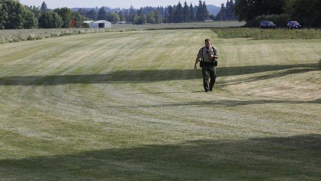 Deputies respond to a plane crash northeast of Salem Monday evening.