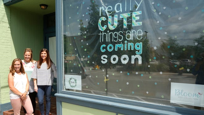 Co-owners Amanda Kennedy, Jayme Whitaker and Ashley Jones stand in the front door Wednesday, June 13, 2018, at the future home of flourish studio & classroom and Bloom Kids Collection at 634 N. Main Street in downtown Lafayette. Renovations are currently taking place and the women hope to have the business open in August.