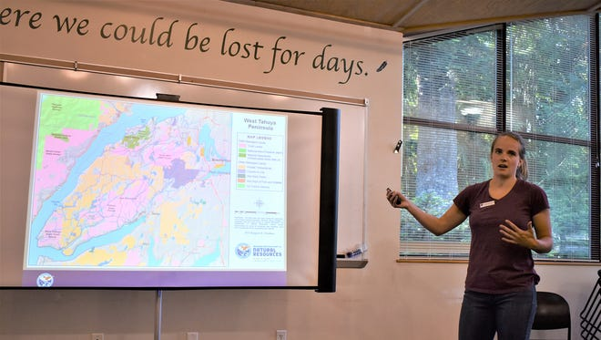 Katie Woolsey, Natural Areas Manager for the Department of Natural Resources, explains the significance of the proposed Dewatto Natural Resources Conservation Area in the context of how forests in the greater Tahuya Peninsula are currently managed. The majority of the 1,700 acres in the proposed conservation area is privately owned right now.