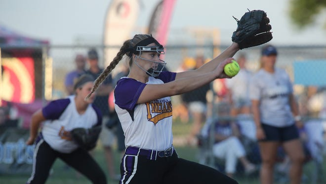 Indianola senior Sydney Sickles pitches in the first inning against Pleasant Valley. Second-seeded Indianola lost 3-0 to top-seed Pleasant Valley in the Class 5A state softball final July 20.
