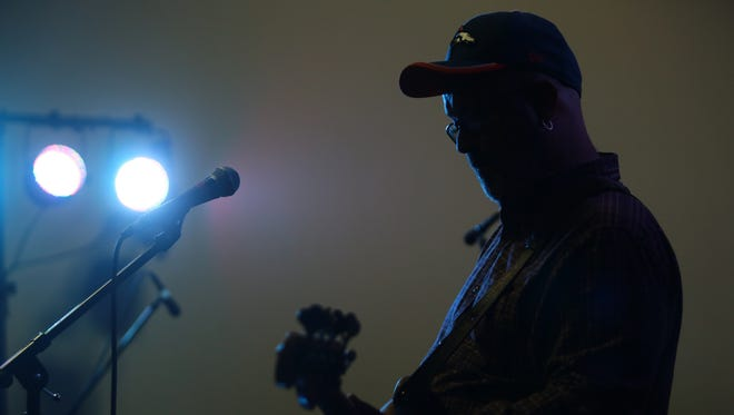 """Jody Moses, bass guitarist for The OGR Band, performs on Sunday during the Red Hot Battle of the Bands at the Indio Performing Arts Center in Indio. More than twenty local bands performed during the all-day fundraiser to benefit the Red Hot Ballroom children's after school dance program. The band opened with a cover of """"Take it Easy."""""""