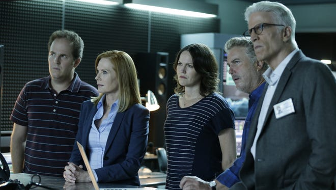 "David Berman, from left, Marg Helgenberger, Jorja Fox, William Petersen and Ted Danson appear in a scene from the 2-hour series finale of ""CSI: Crime Scene Investigation,"" airing on Sunday at 9 p.m. EDT on CBS."