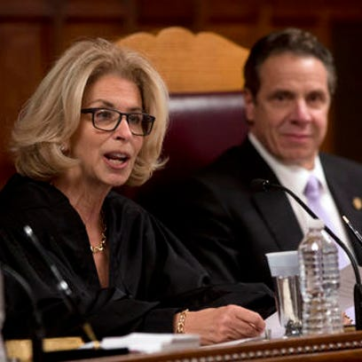 Chief Judge Janet DiFiore speaks at the Court of Appeals