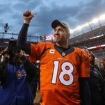 Denver Broncos quarterback Peyton Manning (18) gives a thumbs up to the fans after the AFC Championship football game at Sports Authority Field at Mile High. Denver Broncos defeated New England Patriots 20-18 to earn a trip to Super Bowl 50.