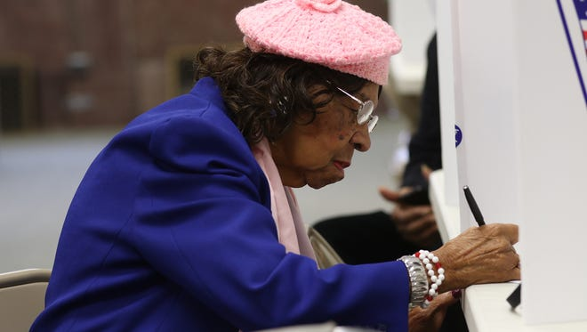 Hattie B. Lewis of Rochester, 90, voted at the Monroe County Board of Elections office by absentee ballot.