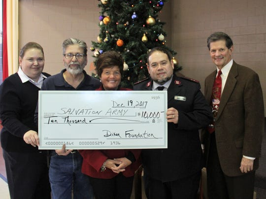 The Francis J. Dixon Foundation presented an investment of $10,000 to the Lebanon Salvation Army to help meet the nutritional needs of families in Lebanon County. Presenting the check on behalf of the F.J. Dixon Foundation were Sherry Cassel, Executive Director, and Robert Phillips, Vice Chairman. Photo from left to right: Captain Amy Portillo, Lebanon Salvation Army Advisory Board Chairman David DiNunzio, Sherry Cassel, Captain Ernesto Portillo and Robert Phillips.