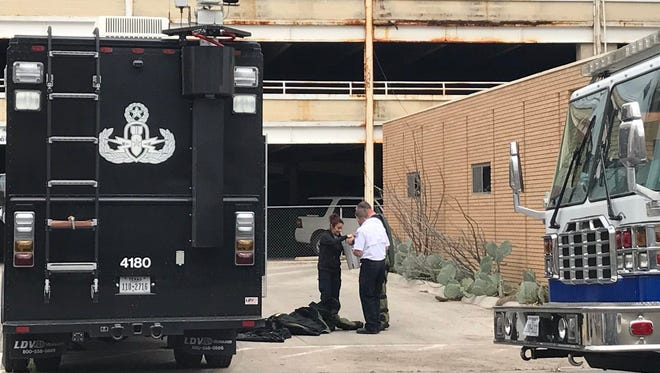 Abilene Bomb Squad at the scene of a suspicious package Wednesday, March 28, 2018, at Stephens Central Library.