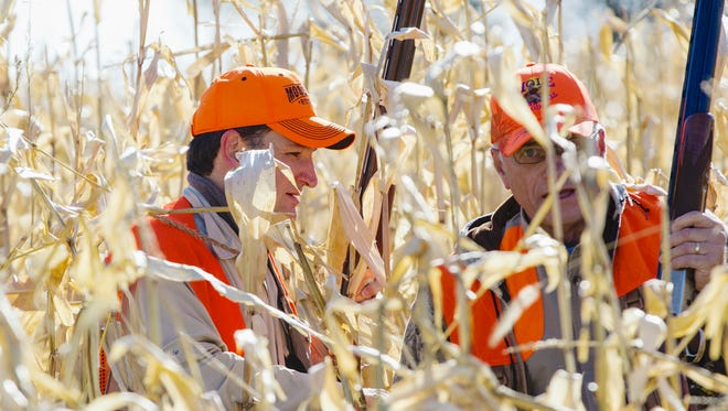 In this Oct. 26, 2013, file photo, Sen. Ted Cruz, R-Texas, and Rep. Steve King, R-Iowa, navigate through a corn field during a hunt hosted by King in Akron, Iowa.