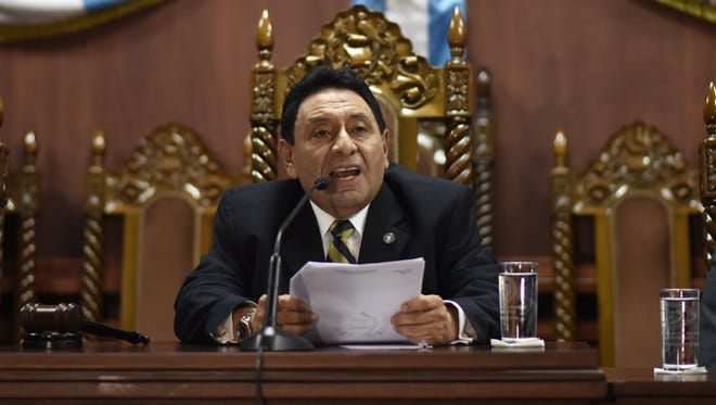 The president of the Constitutional Court, Francisco de Mata Vela speaks during a press conference in Guatemala city on Aug. 29, 2017.