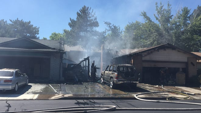 A home in the 2000 block of Capurro Way in Sparks burned on Wednesday morning, Aug. 24, 2016.