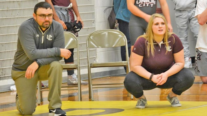 Union City's Angelica (AJ) Iobe (right) was tapped by Charger head varsity coach Jason Counterman to be the new Middle School coach for the Charger program, making Iobe the first female head coach in UC and Big 8 history.