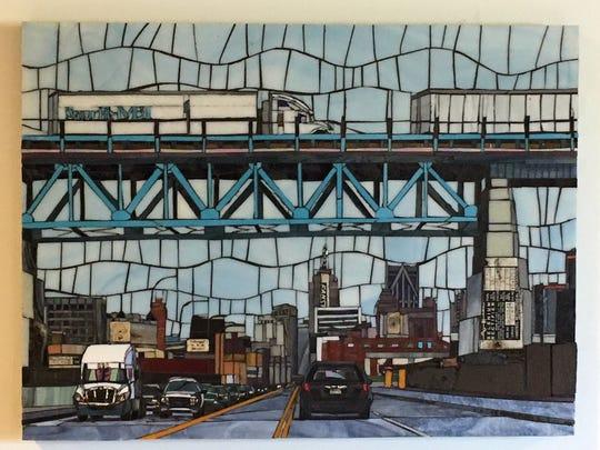 """Darcel Deneau's glass mosaic """"Fort Under Bridge"""" at Corktown Studios through Friday."""