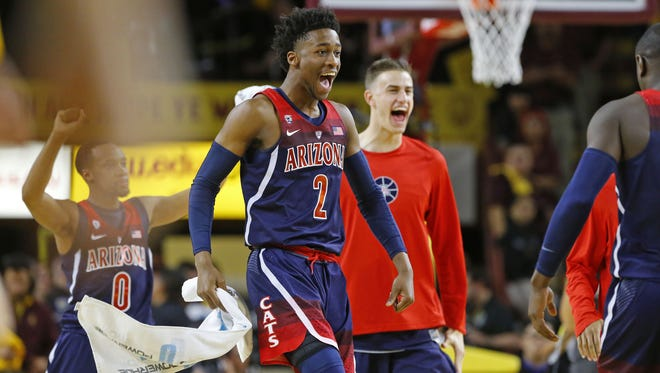 Arizona Wildcats guard Kobi Simmons (2)  reacts late in their 73-60 win over the Arizona State Sun Devils  in their NCAA basketball game Saturday, Mar. 4, 2017 in Tempe, Ariz.