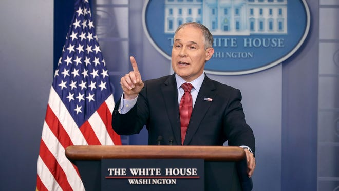 Environmental Protection Agency Administrator Scott Pruitt answers reporters' questions during a briefing at the White House on June 2, 2017, in Washington, D.C.