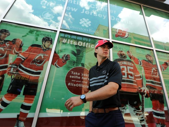 Nico Hischier is shown outside the Prudential Center before a press conference, Monday June 26, 2017.
