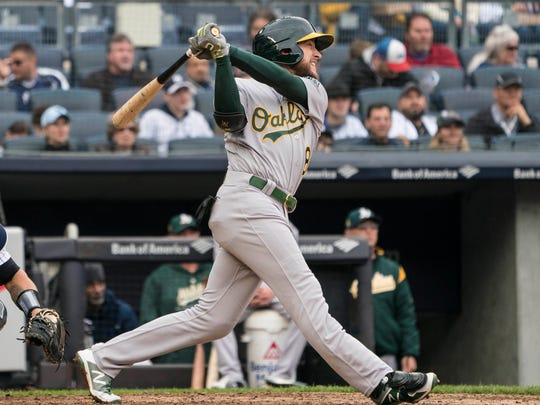 Jed Lowrie is hitting .300 with an .867 OPS.