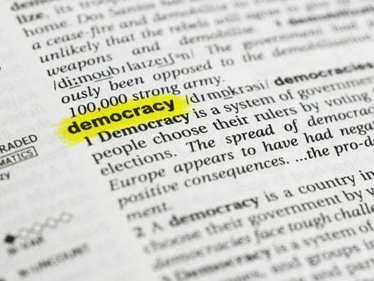 "Detail of the english word ""democracy"" and its meaning"