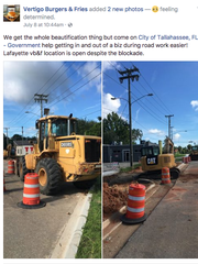 On Saturday, Vertigo Burgers and Fries posted a tweet about construction work that blocked two driveways to access the building.