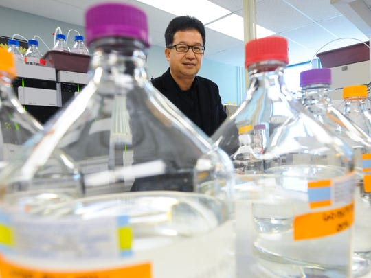 Benjamin Chien, CEO and founder of QPS Holdings, is seen at the company's lab in Newark on Feb. 18, 2016.