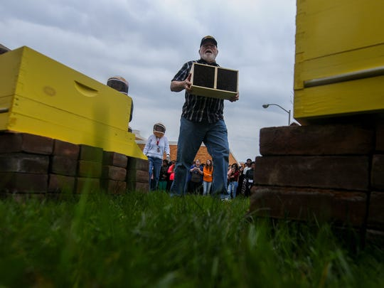 Beekeeper Ed Irvin, of New Castle, releases approximately 15,000 bees into two hives that students built in their Penn Farm Class at William Penn High School in New Castle, Del., Monday, April 4, 2016. Irvin has been volunteering his time since November, instructing students on hive construction as well as bee handling.