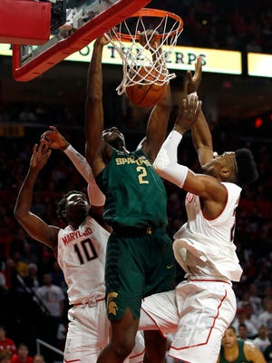 Michigan State forward Jaren Jackson Jr. dunks against Maryland in the first half in College Park, Md. on Sunday.