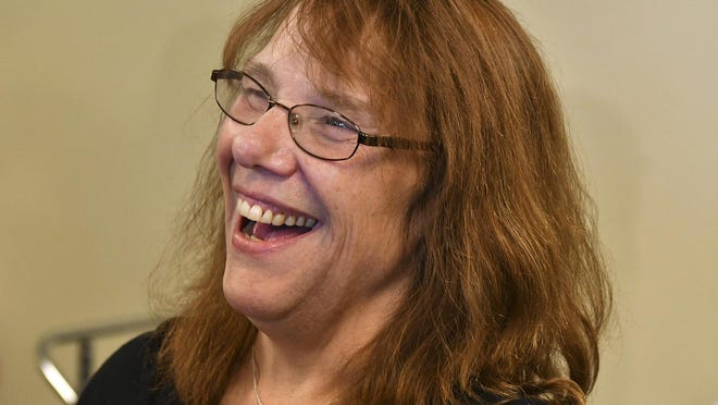 Mavis Wanczyk, of Chicopee, Mass., smiles during a news conference where she claimed the $758.7 million Powerball prize at Massachusetts State Lottery headquarters, Thursday, Aug. 24, 2017, in Braintree, Mass. Officials said it is the largest single-ticket Powerball prize in U.S. history.