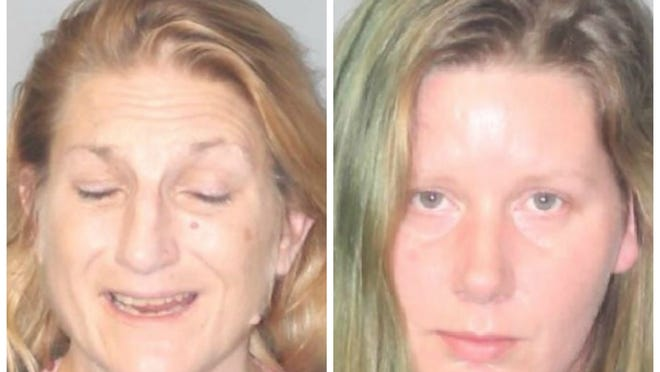 From left, Therese Brassil, 49, and Kathleen Berryman, 34, were arrested in Brockton on drug charges after detectives executed a search warrant at 61 Ellsworth St., Apt. 2., where the women live, Friday, Oct. 23, 2020.
