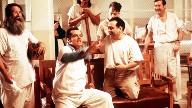 """Jack Nicholson (seated left) is R.P. McMurphy in """"One Flew Over the Cuckoo's Nest."""" The film will be shown on June 17 as part of the Wednesday Evening Film Series at the Historic Elsinore Theatre."""