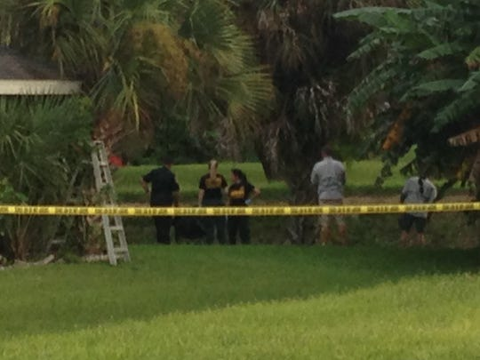 LCSO deputies investigate a canal near where a body was found this evening.