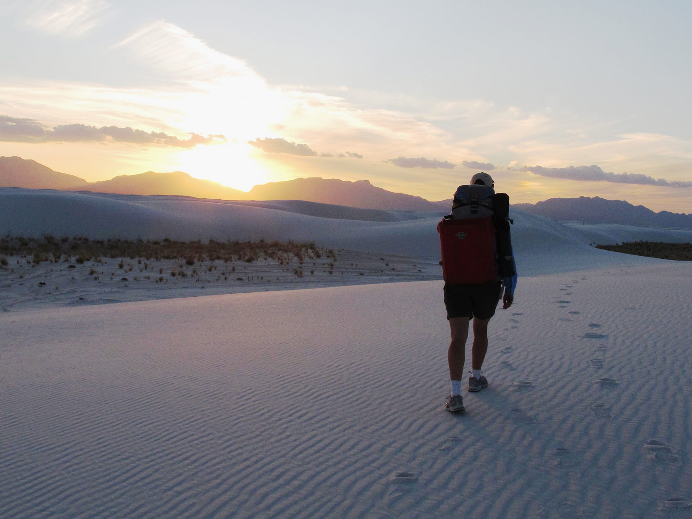 Visitors to White Sands National Monument can hike