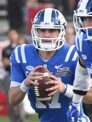 Duke quarterback Daniel Jones set multiple records in leading the Blue Devils past Temple in the 43rd Walk-On's Independence Bowl.