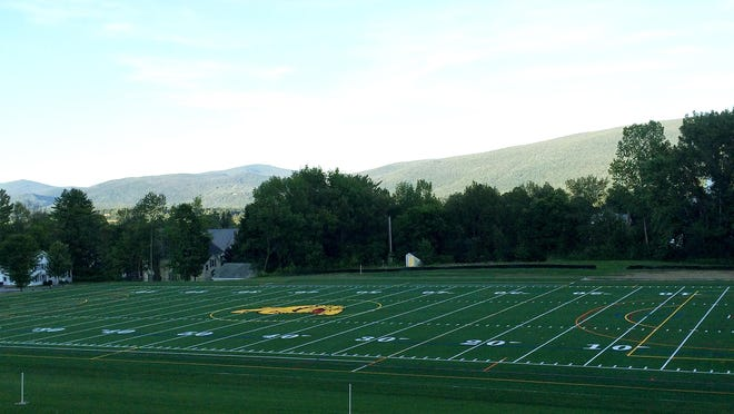 The new artificial turf field at Burr and Burton Academy in Manchester was recently installed and will be ready for the start of the fall sports season.