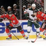 Pat Kane and the Chicago Blackhawks beat Minnesota Sunday after 4-1 to take a 2-0 lead in their playoff series.