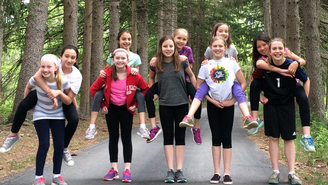 Girl Scouts who contributed the audio trail project are (front row from left) Hailey Waldron, Leah Foose, Gracie Mango, Jacqueline Maloney and Ankora Sant'Angelo and (back row from left) Alexa Acquaviva, Rose Ariyan, Carly Klein, Julia Mitchko and Brianna Reimann.