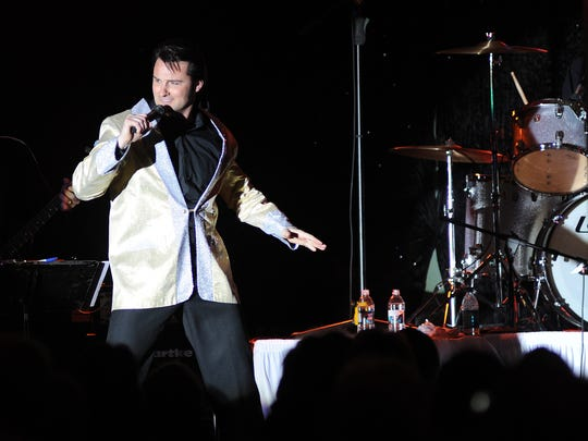 In this 2011 file photo, an Elvis impersonator performs during the Elvis Birthday Bash at Dale's Weston Lanes. The 13th annual bash is this Saturday.