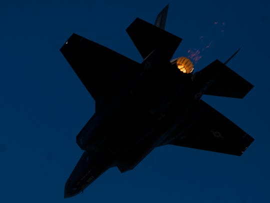 An F-35 does a flyby during the Maxwell Air Show at